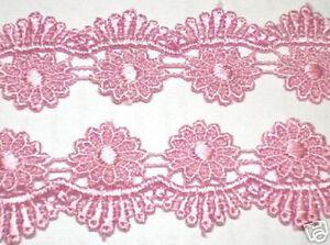 Venise-Lace-Flower-Victorian-Trim-4-Yards-Pink