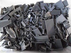 100-DARK-GREY-LEGO-PIECES-FROM-HUGE-BULK-LOT-BRICKS-PARTS-RANDOM-Gray