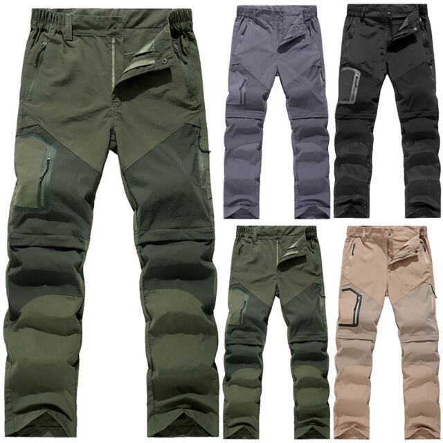 Men Quick Dry Pants Tactical Detachable Outdoor Combat Climbing Hiking Trousers