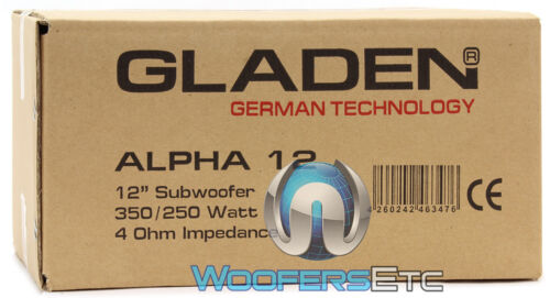 "GLADEN ALPHA 12 SUB 12/"" WOOFER 250W RMS 4-OHM SUBWOOFER BASS CAR SPEAKER NEW"