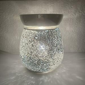 Blue-and-Silver-Crackle-Electric-Wax-Warmer-Burner-amp-10-Scented-Melts-3132