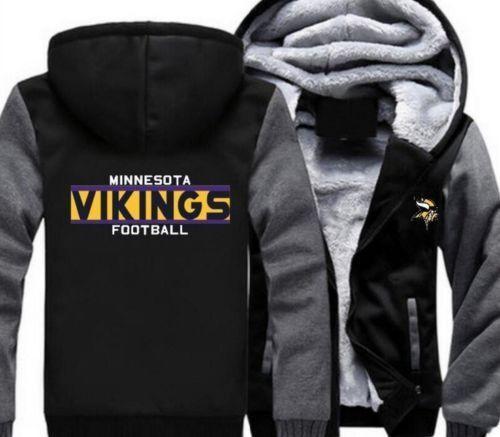 Minnesota Wikinger Fußball Kapuze Reißverschluss Reißverschluss Reißverschluss Jacke Winter Warm Schwarz & ff3c9e