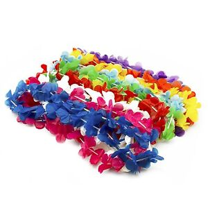 Hawaiian Flower Leis Luau Plastic Colorful Necklace Beach Grad Party Favors LOT