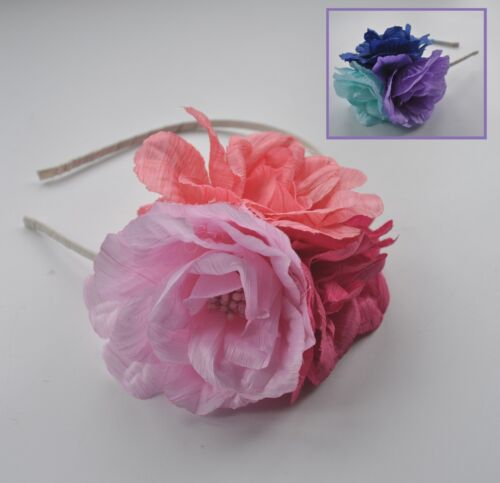 Cerchietto Fascinator con rosa in tessuto. CORALLO, Baby & Hot Pink. Royal Blu, Lilla, Aqua