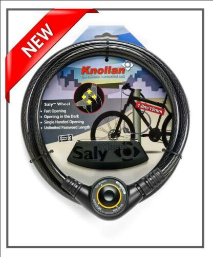 KNOLLAN Saly WHEEL OUTDOOR CABLE COMBINATION DIAL LOCK BICYCLE SAFETY BIKE NEW