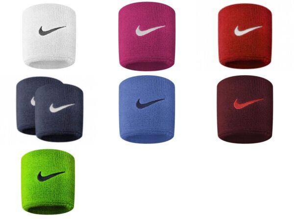 100% De Calidad Nike Swoosh Tenis Fútbol Americano Deportes Sudor Stretch Pulseras Conjunto De 2 Oficial-ver
