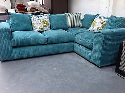 New Sq Arm Fabric Corner Sofa / Suite, Teal  with Pattern Scatter Cushions