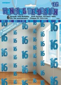 GLITZ-BLUE-6-HANGING-DECORATIONS-16TH-BIRTHDAY-1-5M-HANGING-DECORATION-PARTY