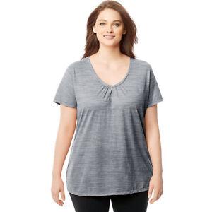 7200cb98 Buy Just My Size Womens Slub-cotton Short-sleeve Shirred V-neck Tee ...