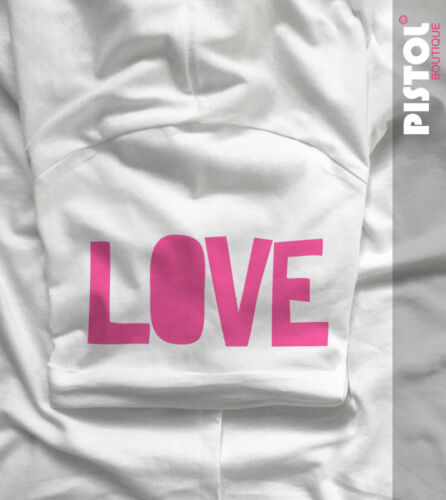 Pistol Boutique men/'s Fitted White Crew neck rolled Sleeve PEACE /& LOVE T-shirt