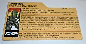 Romantique G I Joe File Card I.d. Filecard 2010 Snake Eyes V51 ArôMe Parfumé
