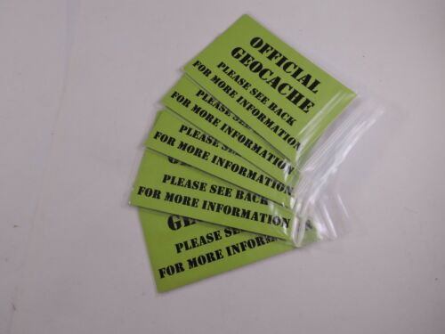 Geocache Geocaching Stash Cards with info on both  Sides in Waterproof Bag