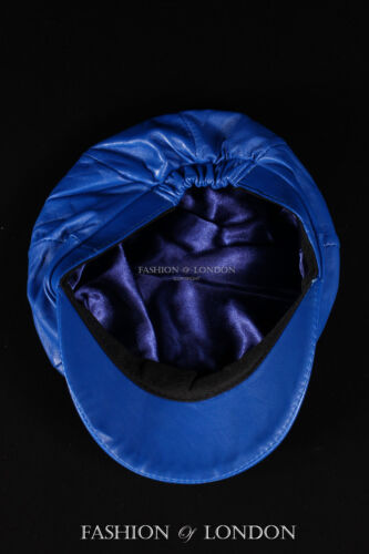 Royal Blue GATSBY HAT Real Lambskin 100/% Leather Cabbie Newsboy Bakerboy Cap