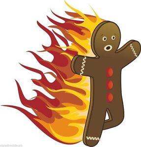 Bonhomme Graphique bonhomme en pain d'épice cartoon on fire personnage autocollant