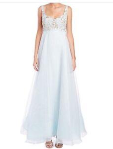 ec7f126f43f NWT $1295 Marchesa Notte Powder Blue Beaded Silk Gown Size 8 | eBay