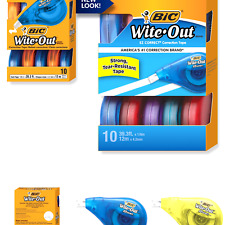 10-Count New BIC Wite-Out Brand EZ Correct Correction Tape White