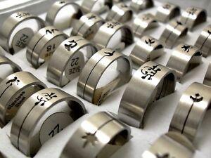 100stk-mix-silber-desgin-edelstahl-ringe-ring-herren-mode-Schmuck-sonderposten