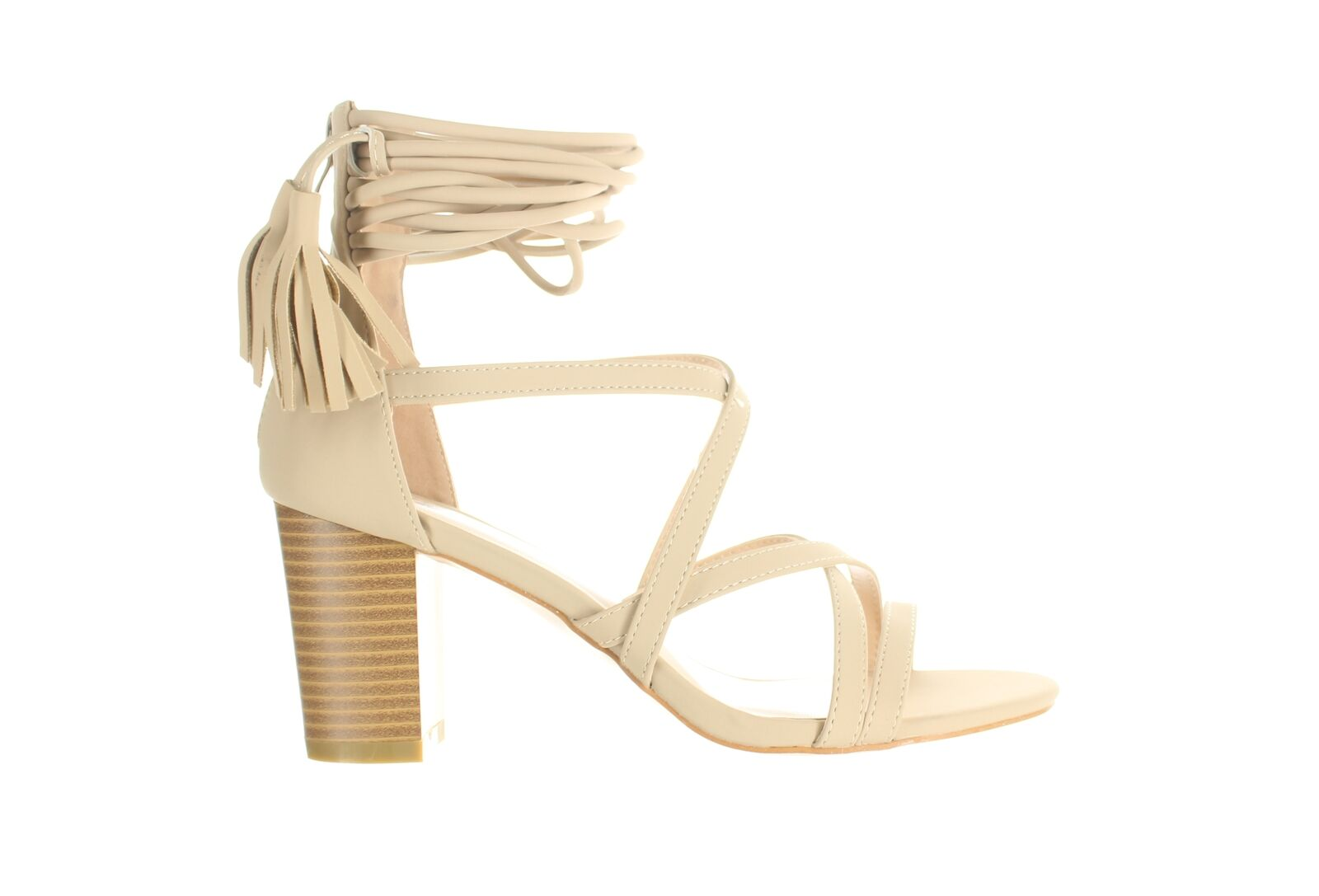 Journee Collection Womens Ruthie Nude Ankle Strap Heels Size 6.5 (1976614)