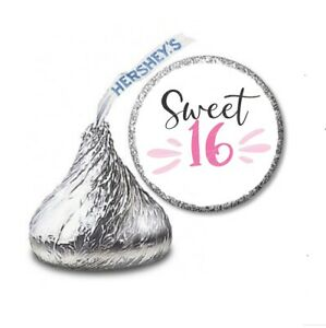 108 SWEET 16 Birthday Party Favors Stickers Labels for Hershey Kiss