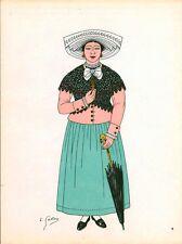 Gravure d'Emile Gallois costume des provinces françaises 1950 Aunis, la Rochelle