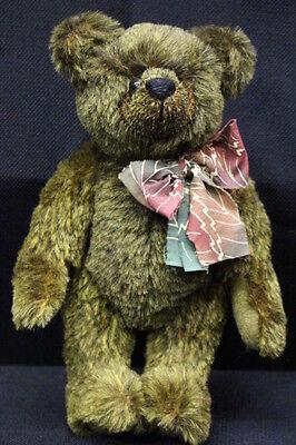 "German Mohair ""herb"" Bear W/glass Eyes & Bow Prfect Pals Dark Brown 11"" Tall"