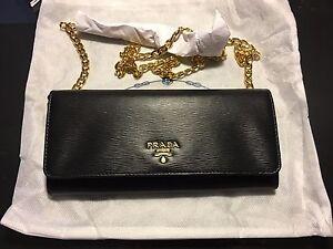a5bb6bf39d589b NWT Prada Wallet on a Chain Borsa Portafoglio Nero Black Vitello ...