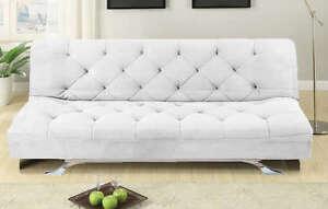 Divano sofa letto 195x115 bianco in microfibra reclinabile salotto ...