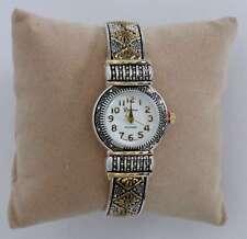 Cuff Watch, Brighton Beach Diamond Flower Round Face, Two-Tone w/ Xtra Battery!