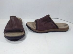 cd15468c6bdd MERRELL Mens Traveler Tilt Slide Brown Leather Casual Sandals Shoes ...