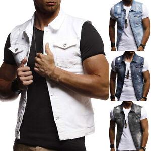 Men S Sleeveless Tank Vest Fashion Vest Denim Jacket Jean Jacket
