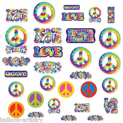 30 Assorted Feeling Groovy 60's Disco Tie-Dye Party Cutouts Decorations
