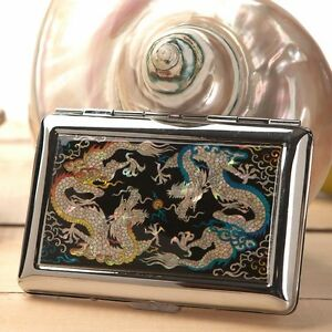 Mother-of-Pearl-Double-Dragon-Metal-Cigarette-Tobacco-Holder-Case-Storage-Wallet