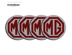 MGF-MG-TF-Car-Alloy-Wheel-Centre-Badges-Burgundy-Silver-55mm-Centres