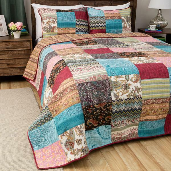 Multicolord King Kantha Quilt Patola Silk Assorted Patchwork Bedspread Set
