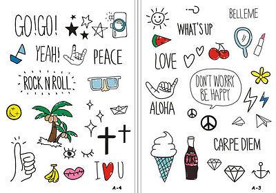 Fun Peace & Love Carpe Diem Coke Aloha Sun Cartoon Temporary Tattoo Collection