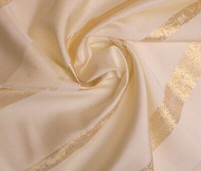 Übergardinenstoff In Cream Mit Breiten Goldenen Streife Elegant Im Geruch