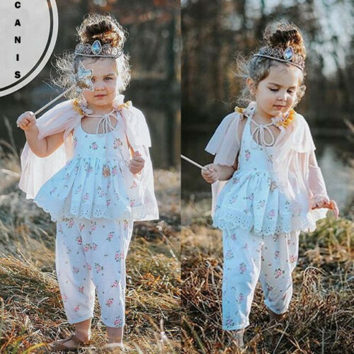 UK Summer Newborn Kid Baby Girls Floral Lace Top Long Pant Casual Outfit Clothes