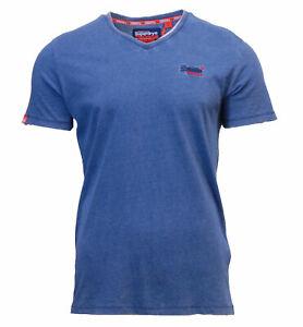 Nuevo-para-hombre-de-Superdry-Orange-Label-Vintage-de-Bordado-Cuello-en-V-T-Shirt-Luz-Indigo