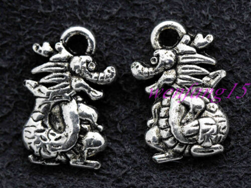 Charms pendant Tibetan silver Chinese dragon necklace 20-300pcs 15x9mm 1g