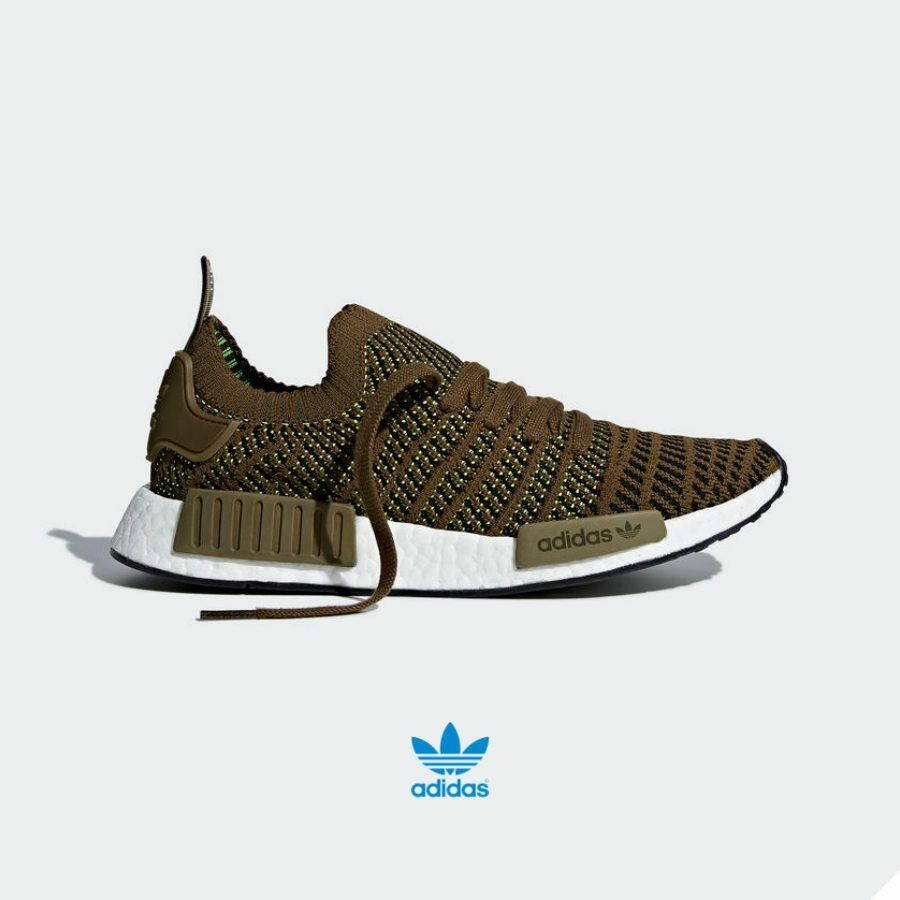 Adidas Originals NMD R1 STLT PK Shoes CQ2413 Running Khaki Black White SZ 4-12