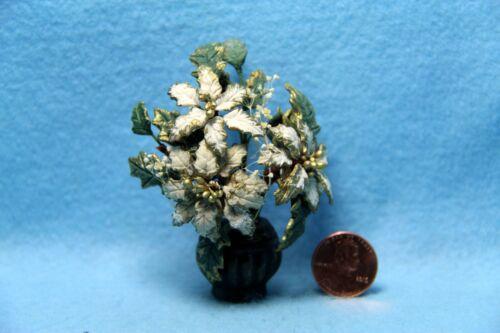 Dollhouse Miniature Christmas Poinsettia White /& Gold in Pot ~ FA2041A