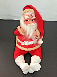 Vintage-6-5-034-SANTA-CLAUS-Figure-Doll-JAPAN-Felt-Cotton-Beard-Plastic-Face