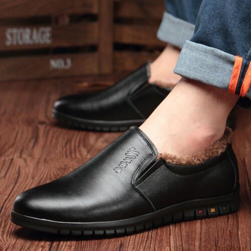 Mens Dress Formal Leather British Winter Warm Fur Lining Low Top Shoes Casual
