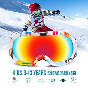 f2e91bf46c50 Kids Ski Goggles For Girls Boys Glasses Dual Lens Pro Anti Fog Mask ...