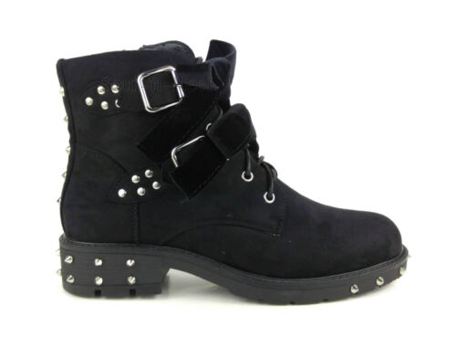 Womens Bow Detailed Lace Up Silver Studded Biker Ankle Boots Ladies Suede Shoes