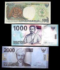 3 Indonesia Banknotes 1 x 500/1000/2000 Rupiah