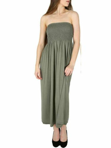 Womens Sheering Bandeau Boobtube Gather Strapless Summer Beach Maxi Dress 8-22