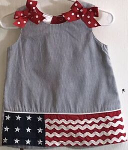 Cre8ions-Baby-Girl-s-Sz-18M-Dress-Fourth-of-July-Sundress-Sleeveless-Front-Bows