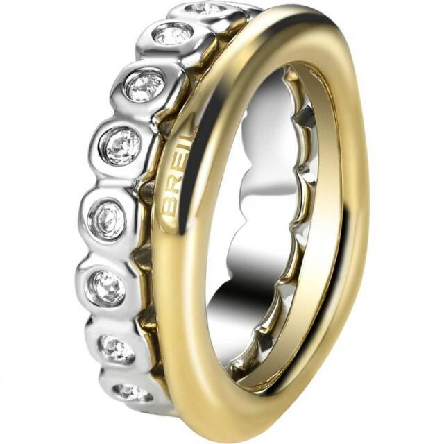 Doppio Anello BREIL ROLLING DIAMOND TJ1543 Acciaio Gold Swarovski Misura 12