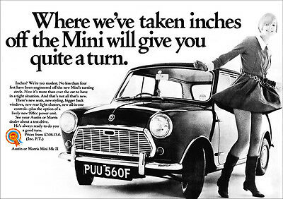 MINI AUSTIN MORRIS BMC RETRO A3 POSTER PRINT FROM CLASSIC 60'S ADVERT